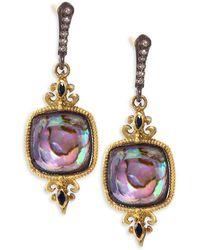Armenta - Old World 18k Yellow Gold Diamond Fleur De Lis Drop Earrings - Lyst