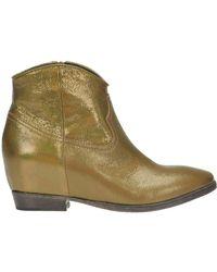 Lemarè - Metallic Effect Leather Texas Boots - Lyst