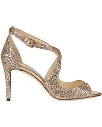 Jimmy Choo - 'emily' Glittered Leather Sandals - Lyst