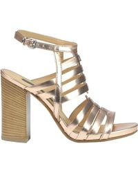 Janet & Janet - Averio Metallic Effect Leather Sandals - Lyst