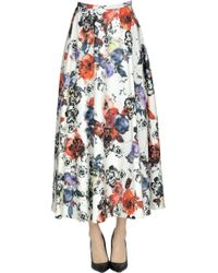 Pinko - Flower Print Taffetà Skirt - Lyst