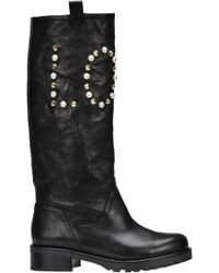 Patrizia Pepe - Embellished Leather Boots - Lyst