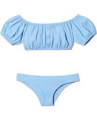 Lisa Marie Fernandez - Leandra Cornflower Seersucker Button Bikini, Size 1 - Lyst