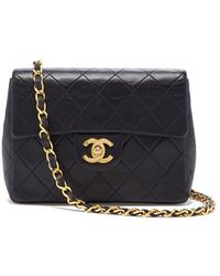 What Goes Around Comes Around - Chanel Navy Lambskin Mini Flap Bag - Lyst