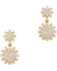 Rosa De La Cruz - Sunflower Diamond Yellow Gold Hanging Earrings - Lyst