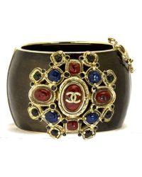 Chanel | Multicolor Logo Black Contoured Cuff Bracelet | Lyst