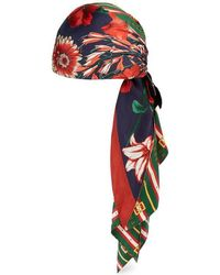 Gucci - Square Gg Belts And Spring Bouquet Silk Turban - Lyst