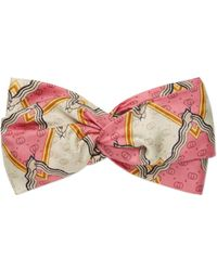 Gucci - Silk Headband With Snake Rhombus Print - Lyst