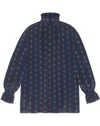 Gucci - Camisa Extragrande Seda Estampada - Lyst