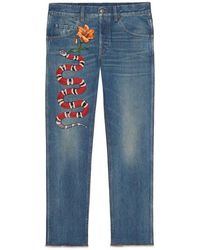 Gucci - Embroidered Denim Pant - Lyst