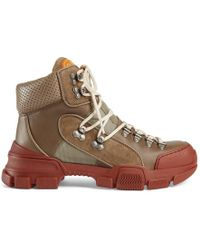 Gucci - Leather And Canvas Trekking Boot - Lyst