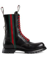Gucci - Black Leather Boot With Web - Lyst
