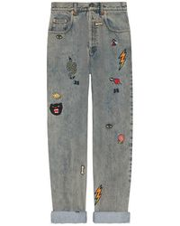 Gucci - 80s Fit Denim Pant With Symbols - Lyst