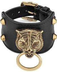 Gucci - Armband aus Leder mit Felinekopf - Lyst