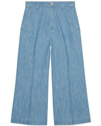 Gucci - Embroidered Denim Culotte Pant - Lyst