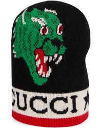 Gucci - Gorro con motivo de pantera y serpiente - Lyst