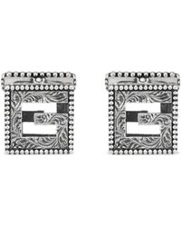 Gucci - Cufflinks With Square G In Silver - Lyst