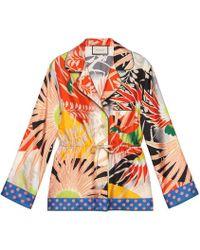 Gucci - Tropical Bird Silk Pyjama Shirt - Lyst