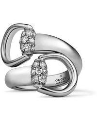 Gucci   White Gold Horsebit Ring   Lyst