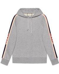 Gucci - Hooded Sweatshirt With Stripe - Lyst