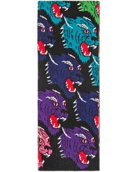 Gucci - Rainbow Panther Face Jacquard Wool Scarf - Lyst