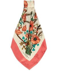 Gucci - Floral Print And Jacquard Silk Scarf - Lyst