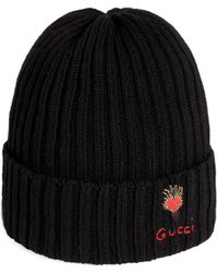 Gucci - Wool Hat With Pierced Heart - Lyst