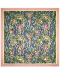 Gucci - - Silk Shawl With Feline Garden Print - Lyst