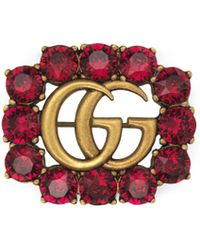 Gucci - Metal Double G Brooch With Crystals - Lyst