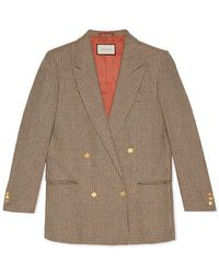 "Gucci - Linen Jacket With ""spiritismo"" Appliqué - Lyst"