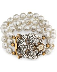 Gucci - Feline Head Bracelet With Crystals And Pearls - Lyst