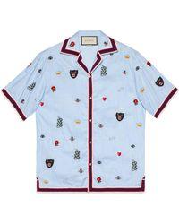 Gucci - Bowling-Hemd mit Stickerei - Lyst