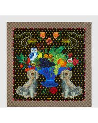Gucci - Spaniel Dogs And Vase Print Silk Scarf - Lyst