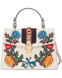 Gucci - Sylvie Embroidered Leather Top Handle Bag - Lyst