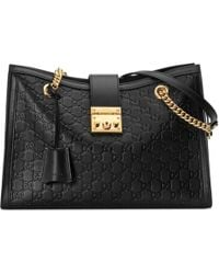 dca24d5a3f2 Lyst - Gucci Padlock Signature Leather Shoulder Bag in Black