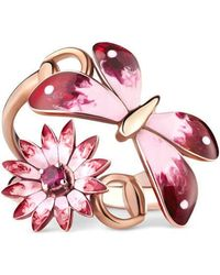 Gucci - Flora Ring In Rose Gold, Enamel And Rubies - Lyst