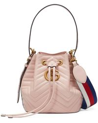 833809cee98 Gucci - GG Marmont Quilted Leather Bucket Bag - Lyst