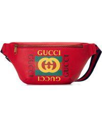 Gucci Sac ceinture en cuir imprimé - Rouge