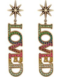 Gucci - Loved Pendant Earrings With Crystals - Lyst