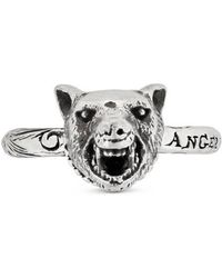 Gucci - Anger Forest Wolf Head Ring In Silver - Lyst