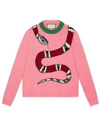 Gucci | Kingsnake Wool Knit Sweater | Lyst