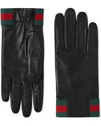 Gucci - Handschuhe aus Leder mit Web - Lyst