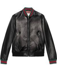 Gucci - Jacke aus Leder mit Webstreifen - Lyst