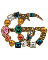 Gucci - Crystal Double G Multi-finger Ring - Lyst