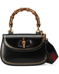 Gucci - Bamboo Classic Frame Print Leather Top Handle Bag - Lyst