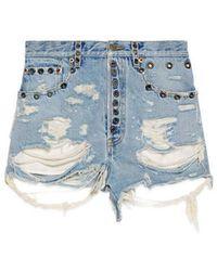 Gucci - Shredded Bleached Denim Shorts - Lyst