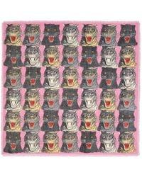 Gucci - Tiger Face Print Wool Silk Shawl - Lyst