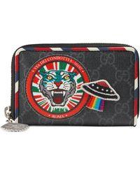 35401128f01c00 Appliquéd Leather-trimmed Monogrammed Coated-canvas Belt Bag. $1,100. MR  PORTER · Gucci - Night Courrier GG Supreme Card Case - Lyst