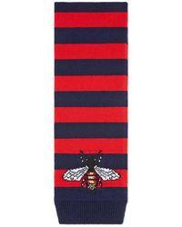 Gucci - Striped Wool Scarf With Bee - Lyst