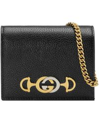 Gucci - Zumi Grainy Leather Card Case Wallet - Lyst